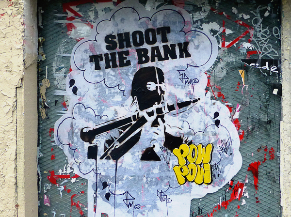 Shoot The Bank POW STREET ART